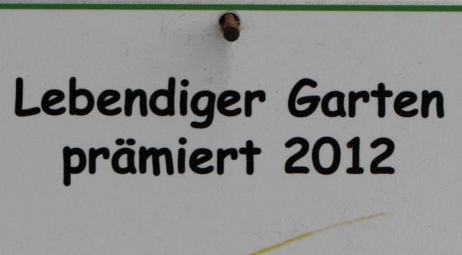 Gartenprämierung Plakette 2012